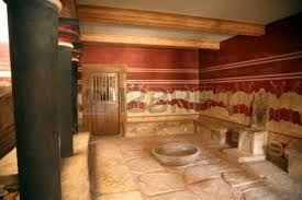 Sala del trono del palazzo di Cnosso, pittura parietale e trono in alabastro; 1700-1400 a.C.; Cnosso, Creta