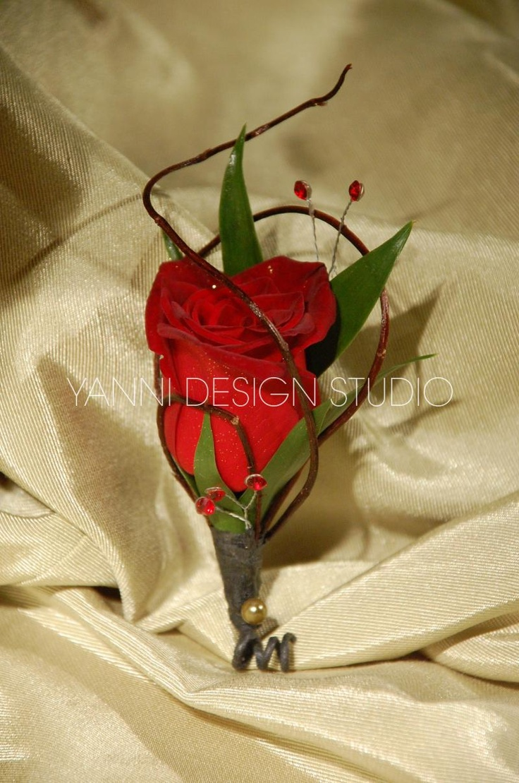A simple yet elegant red rose boutonniere #rose #boutonniere
