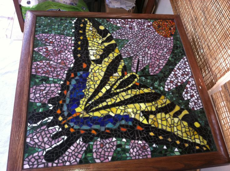 Finished stained glass mosaic table.