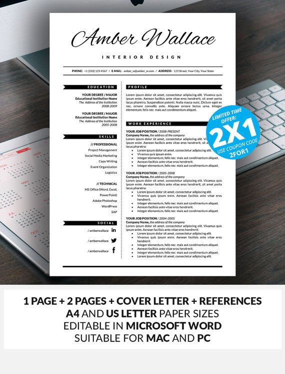 7 best The Elegant Resume Collection Bundle images on Pinterest - elegant resume templates