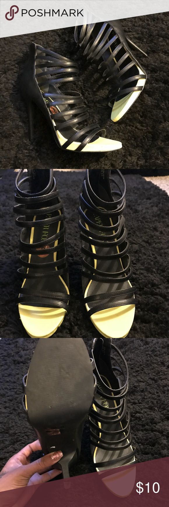 Black Paper Fox Strappy Heels Size 8.5 Black Paper Fox strappy heels size 8.5. These have a little bit of lime green by the toes. Worn a few times, but great condition! No rips or tears on the heel. Paper Fox Shoes Heels