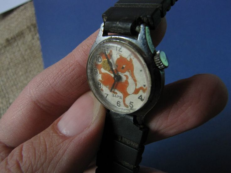 Vintage USSR Soviet Kids Mechanical Wrist Watch ZARYA Zarya Zaria KOLOBOK Fox #Zarya #CartoonNovelty