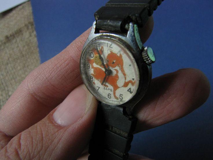 Vintage USSR Soviet Kids Mechanical Wrist Watch ZARYA Zarya Zaria KOLOBOK Fox #Zarya #CartoonNovelty