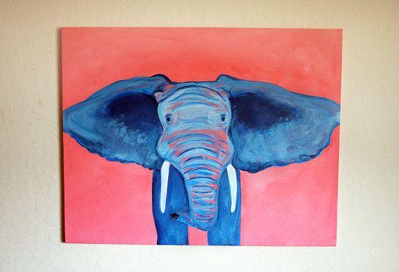 Original Modern Blue African #Elephant Portrait #painting by ModArtSpace, $220.00