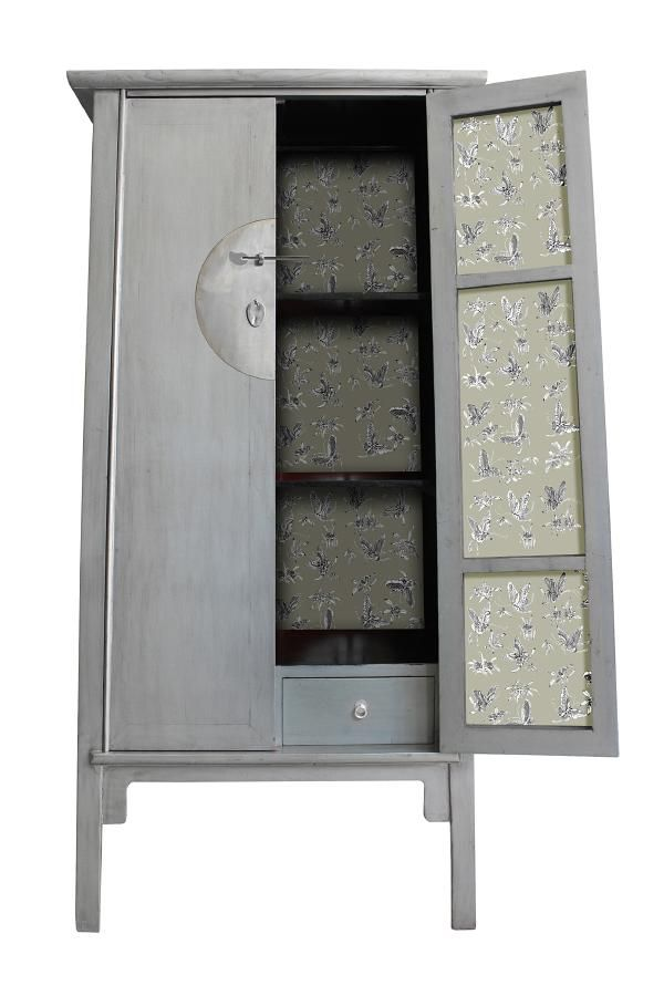 Grey Chinese Cabinet Butterflies - Tall A-Line Cabinet - Orientique - Asian Living