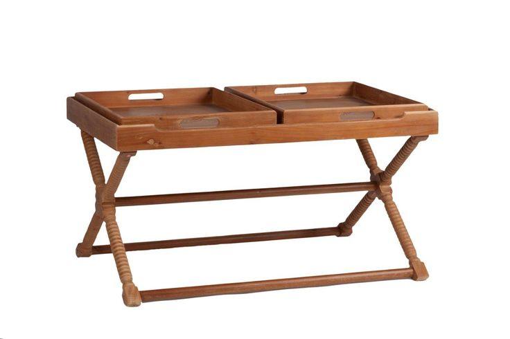 Интересный по конструкции и дизайну сервировочный стол Torus станет настоящим помощником во время вашей трапезы. Уникальность его заключается в съемных подносах, который можно переносить с собой в любую комнату, где вы пожелаете устроить прием пищи. Если их убрать, остается просторная столешница. Стол выполнен в провинциальном стиле «шебби шик», поэтому способен придать вашему дому изысканность, очарование и уют.             Материал: Дерево, МДФ.              Бренд: DG Home…