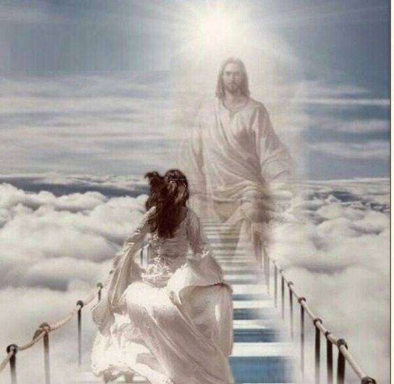 Faith in Christ. Bride of Christ running to Jesus in Heaven.