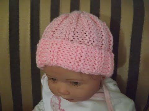 Como tejer gorro para bebe recien nacido - YouTube