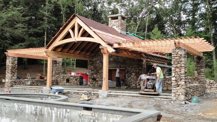 Timber framed pergola and pool house in massachusetts for Pool house shed plans