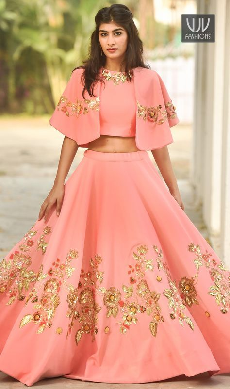 Lavish Pink Color Georgette Designer Lehenga Choli Everyone will admire you when you wear this clad to elegant affairs. This pink color a line lehenga choli is accenting the gorgeous feeling. The brilliant attire creates a dramatic canvas with amazing embroidered and patch border work.