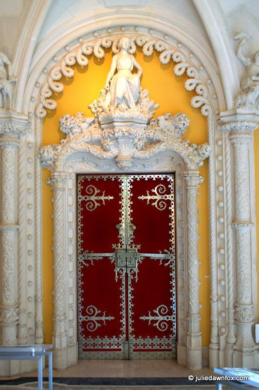 Neo-Manueline door, Sala da Caça, Quinta da Regaleira, Sintra, Portugal. One of many things to see and do. Click to find out why you should visit Sintra.