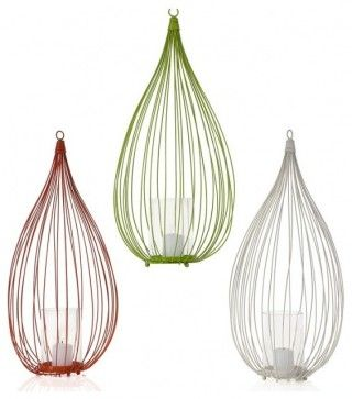 Alberino Lanterns contemporary-candleholders - can be hung, or set on table. For deck