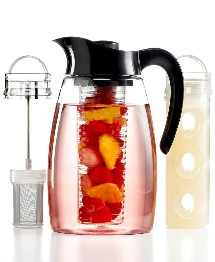 3-in-1 Flavor Infusion Pitcher Jug // make anything from iced tea to mojitos to regular water that's infused with lavender, fruit, or mint. The set includes a tea infuser and fruit infuser, as well as a cooling core