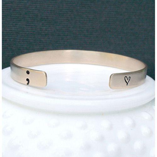 Gold Semicolon Bracelet - Semi Colon Bracelet - You Are Not Your Struggles - Semicolon Jewelry - Semicolon Movement - Depression