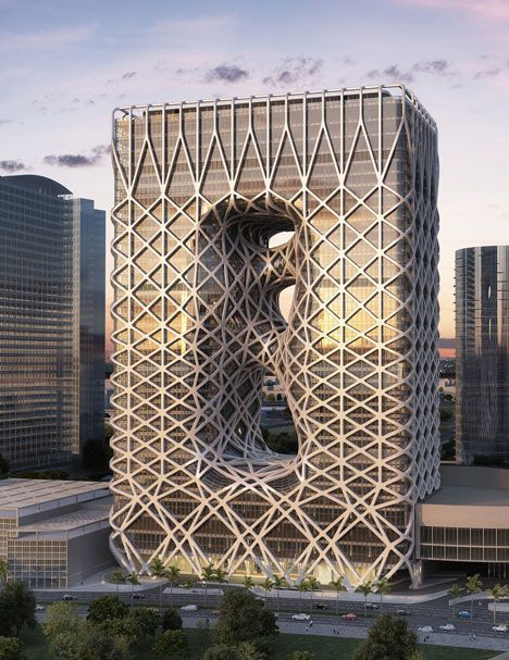 Zaha Hadid Architects has unveiled images of a 40-storey hotel with an exposed exoskeleton that is under construction in Macau