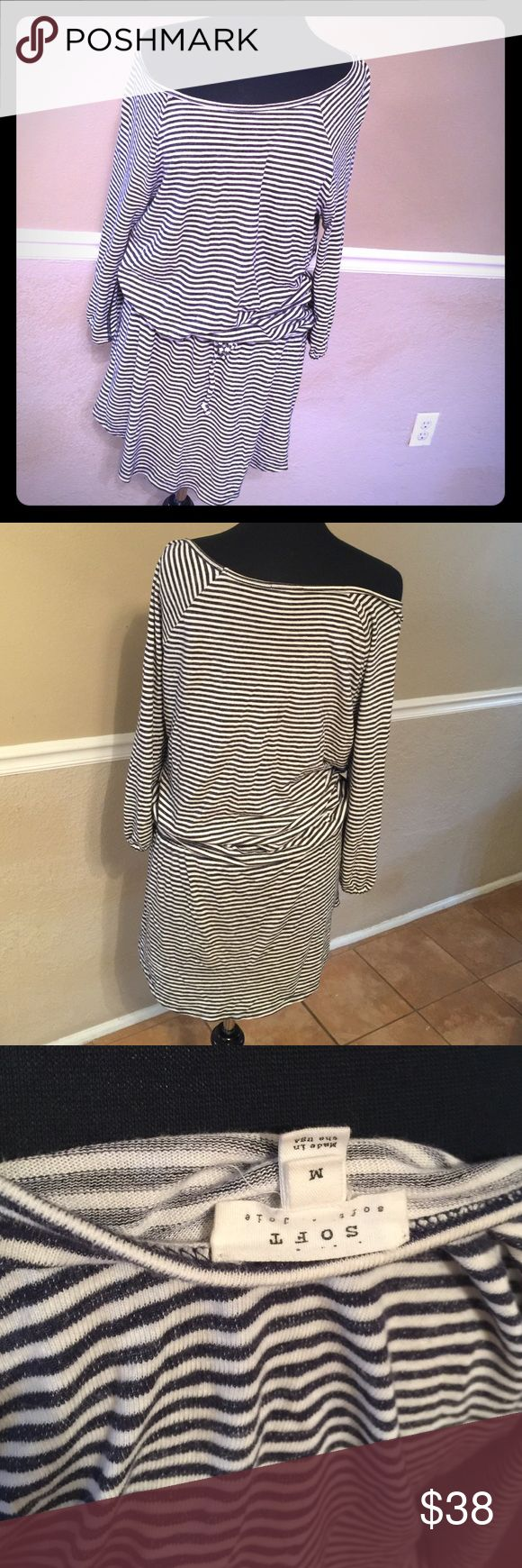 Soft Joie Dress Loungy and casual dress by Joie. Has a drawstring waist and off the shoulder look. Much cuter on than the mannequin. Can be found at Nordstroms Joie Dresses Mini
