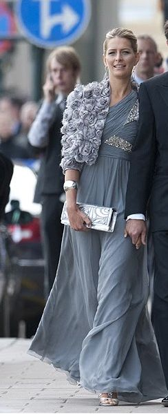 Andrew GN gown with a Diane von Furstenberg bolero worn by Tatiana Princess of Greece and Denamrk