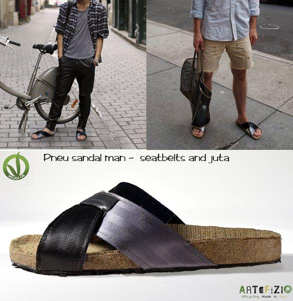 Pneu sandali da uomo vegan - cinture di sicurezza di Artefizio su DaWanda.com