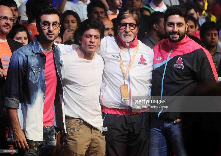 Abhishek Bachchan, Shah Rukh Khan, Amitabh Bachchan and Ranbir Kapoor during the fourth season of Pro-Kabaddi League 2016.