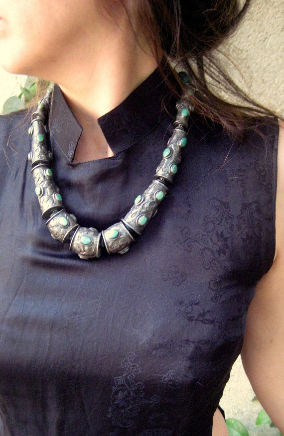 Antique Stunning Tibetan Necklace. Old Tibetan Jewelry. Silver Turquoise Necklace
