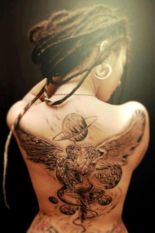 b2e6d0241 Girls with dreadlocks and tattoos › tattooed girl with dreadlocks devil and angel  back tattoo | Stunning Dreadlocks | Tattoos, Angel back tattoo, ...
