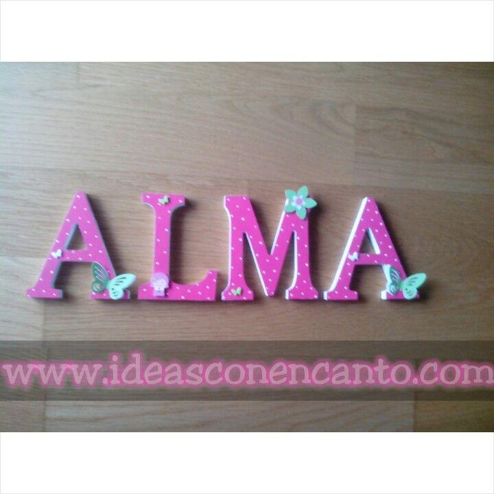 Letras de madera decoradas. Alma