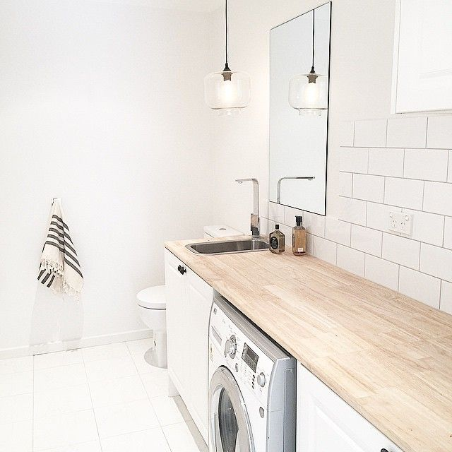 [ THREE BIRDS HOT TIP  ] Let's face it if you're anything like us you spend a fair amount of time in the laundry. So for us we wanted this space to be beautiful and of course cost effective! We searched high and low for an affordable benchtop in this space.... The answer WOOD  this little fancy pants was only 89 bucks from Bunnings.