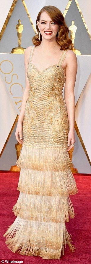 The golden girls: Jessica Biel, Emma Stone and Dakota Johnson sparkle in their metallic lo...