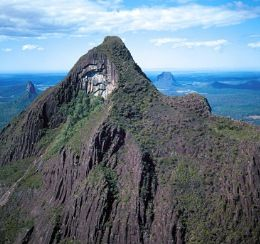 At 556m above sea level, Mount Beerwah is the highest peak of the Glass House Mountains. Photo: NPRSR.