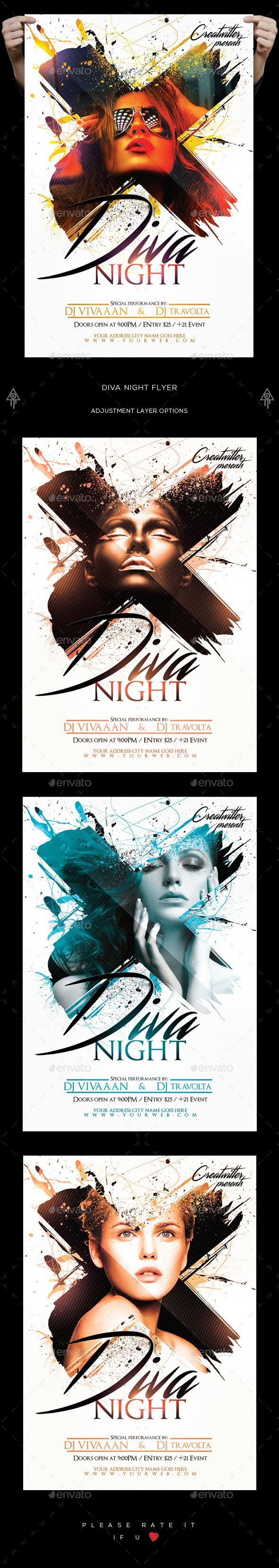 Diva Night Flyer  — PSD Template #vip #ladies night • Download ➝ https://graphicriver.net/item/diva-night-flyer/18329355?ref=pxcr
