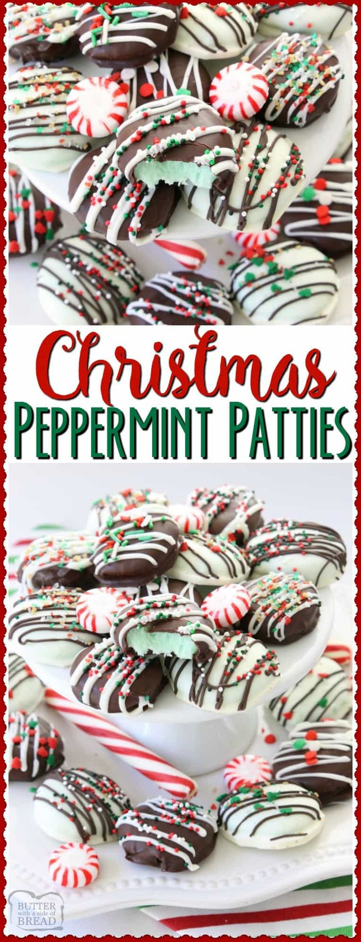 Christmas Peppermint Patties made easy with few ingredients! Perfect fun & festive dessert for holiday parties & gifts. They taste so much better homemade! Easy peppermint candy chocolate Christmas holiday recipe.