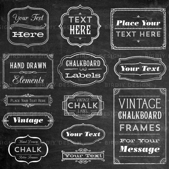 Vintage chalkboard frame labels ornaments clip by Chalkboard typography