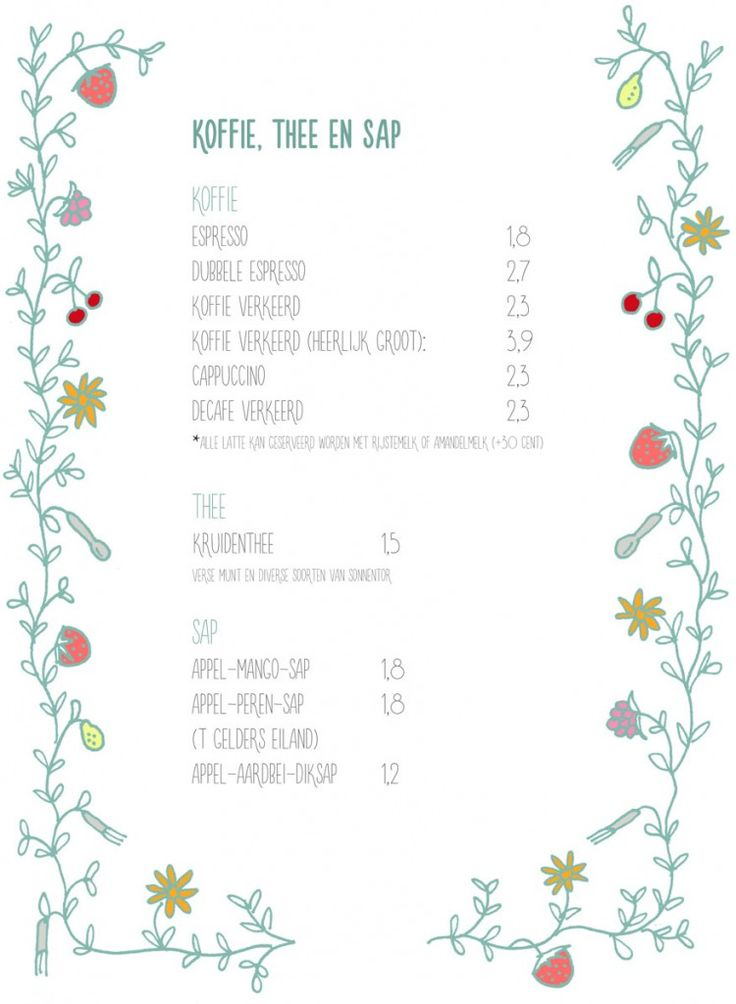 menukaart koffiee