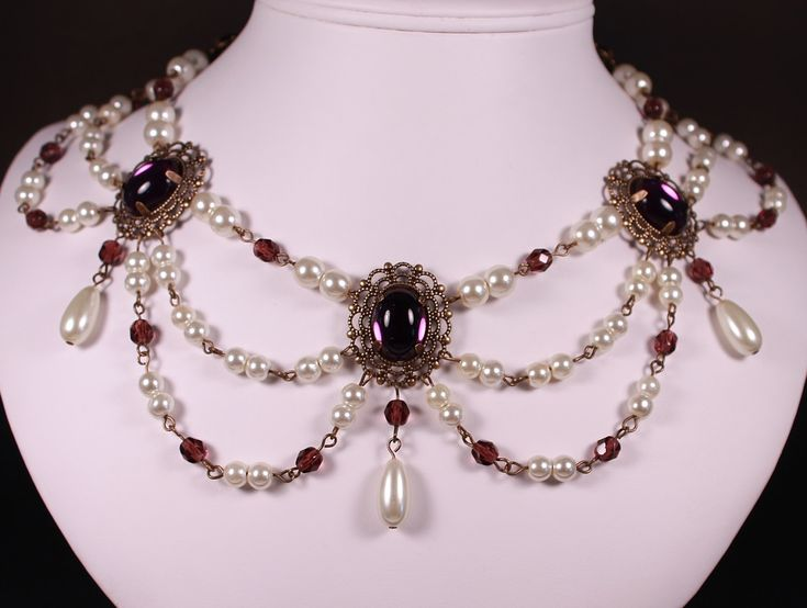 Amethyst, Pearl, Antique gold Collar Renaissance Tudor Necklace Game of Thrones Jewelry