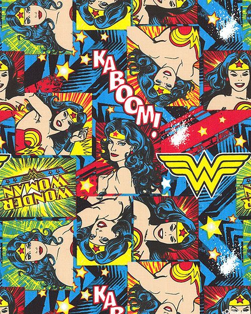 """Quilting cotton -- Wonder Woman is here to save the day! She is proud and strong and beautiful as always, serving up justice over graphic ground. Larger frames are about 2 3/4"""", so good scale for small accessories -- from the 'Girl Power' collection"""