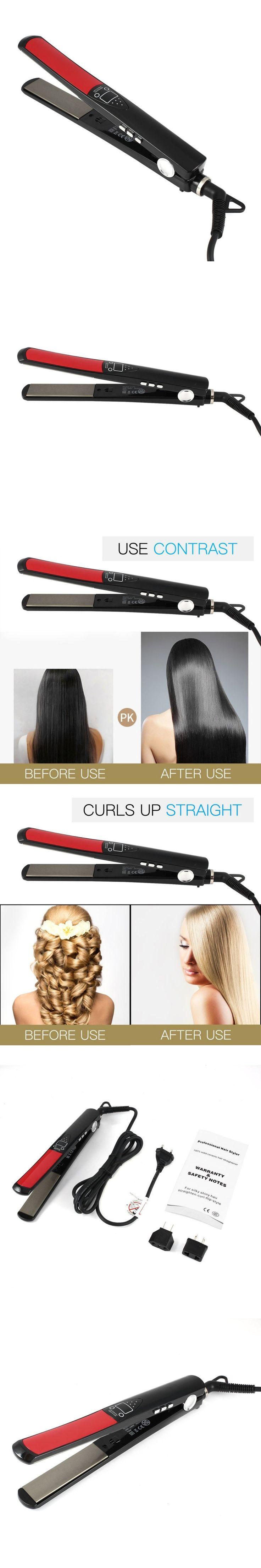 L173 Professional Hair Styler Solid Ceramic Hair Straightener for Silky Shiny Hair Straighten-Curl-Flip Style Home Hair Salon