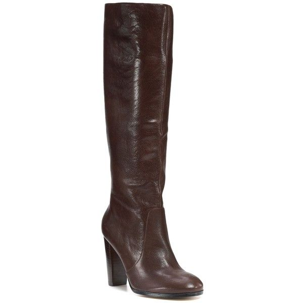 """Aqua """"Straightup"""" Tall Boots (€89) ❤ liked on Polyvore featuring shoes, boots, women, knee-high boots, pull on leather boots, real leather knee high boots, knee high heel boots, leather knee boots and slip on boots"""