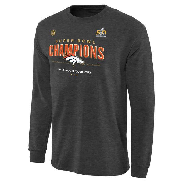 Denver Broncos Super Bowl 50 Champions Trophy Collection Locker Room Long Sleeve T-Shirt - Dark Gray - $26.99