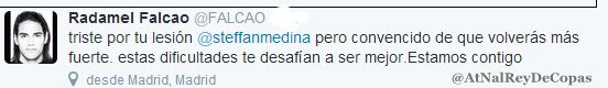 Falcao le manda mensaje de Apoyo a Stefan Medina por no poder ir al Mundial.