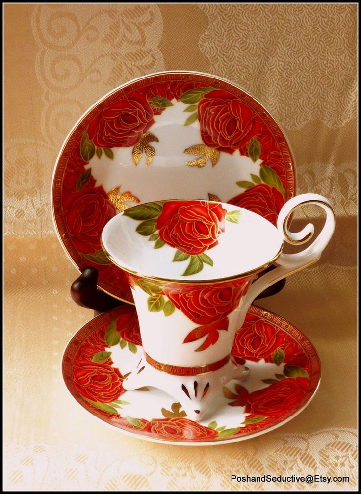 """Limoges Decor du Galion """"So French"""" is truly exquisite and breathtaking set with rich red and generous gilded rose pattern. Can't keep my eyes away from it: """"So much in love with it""""..."""