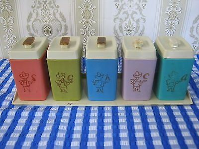Retro Vintage Nylex Harlequin Spice Canister Set, With Rack, Good Condition