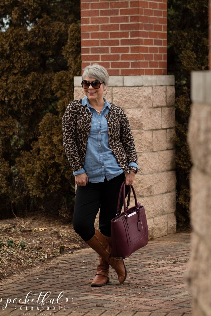 chambray shirt, leopard cardigan, cognac riding boots, winter style, fashion over 40. Business casual style, silver pixie