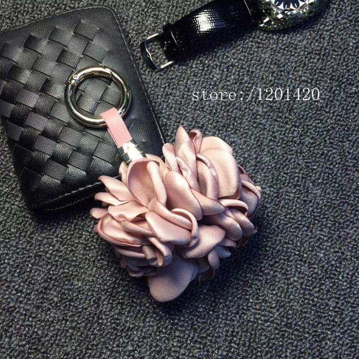 Цветок брелки золотые брелоки розовый шелк Цветок Камелии Брелки Кожаный ремешок для ключей кошелек шарм Сумка Подвеска шарм