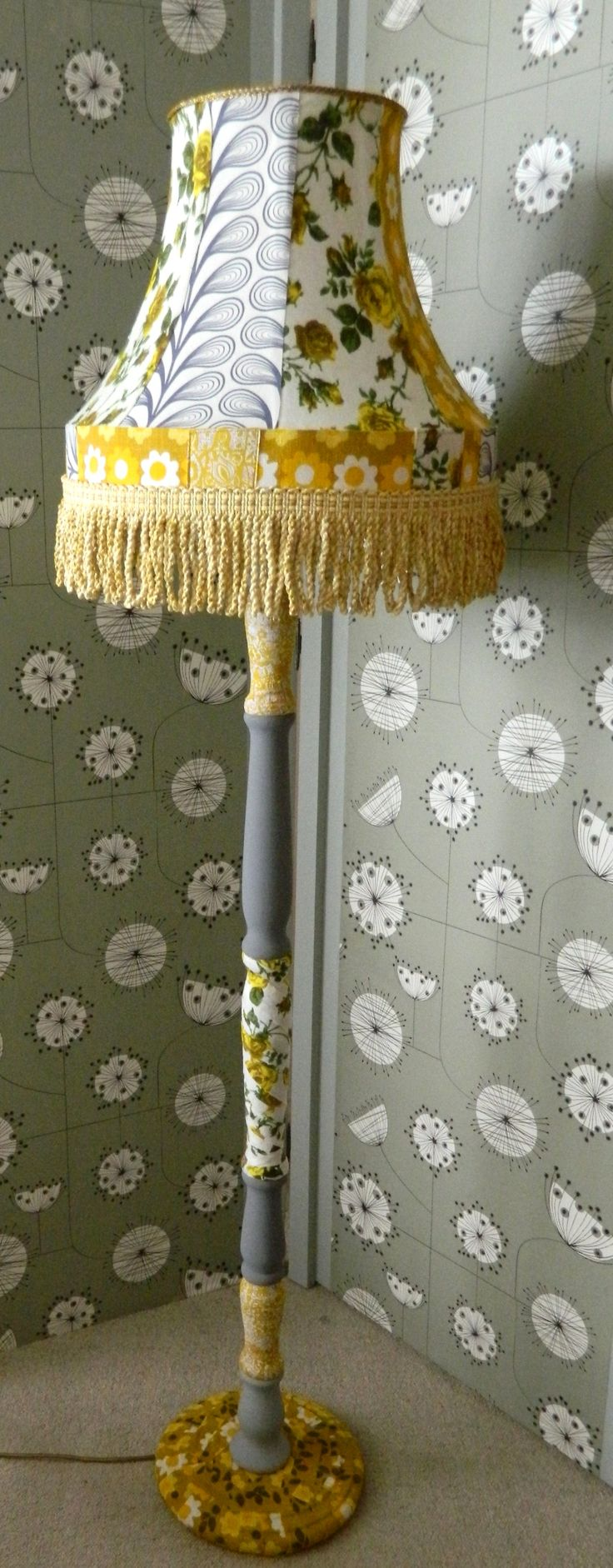Up-cycled standard lamp using vintage fabrics and trim by clarabella christie