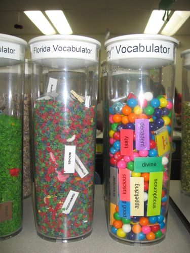 Vocabulator - cool idea   Could be a center...I wonder how hard it would be to find good containers for this. I would rather use with word wall words or vocabulary from shared reading stories.