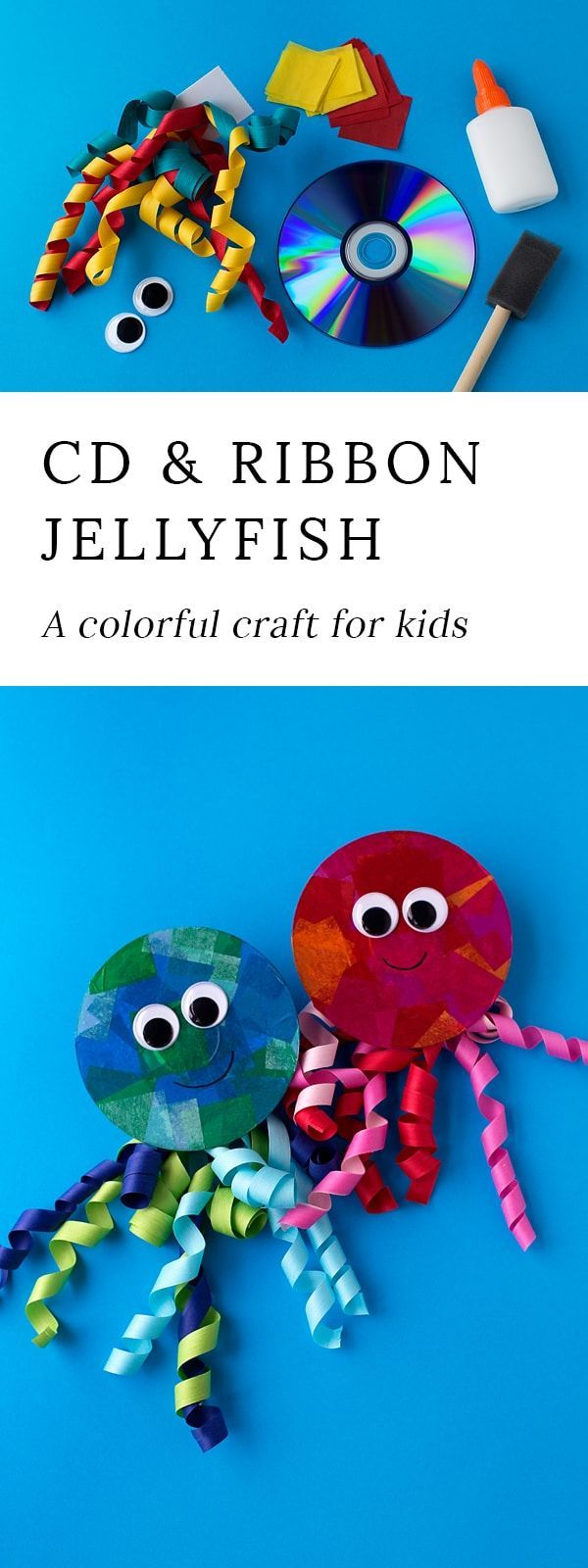 Summer is the perfect season for creating ocean themed art. Learn how to make a colorful upcycled CD and ribbon jellyfish craft. via @https://www.pinterest.com/fireflymudpie/