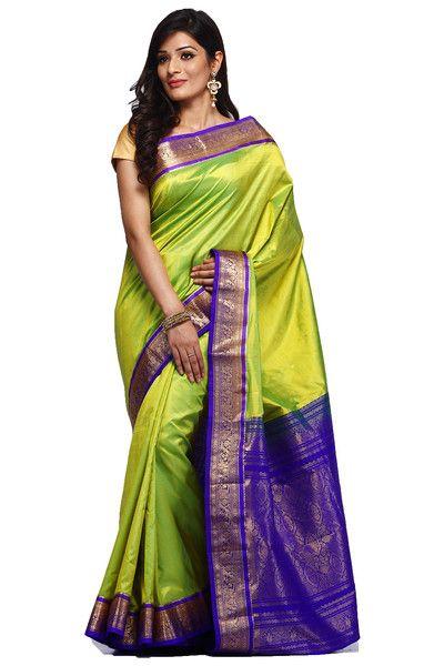 Hand Woven Parrot Green Bangalore Pure Silk Sari