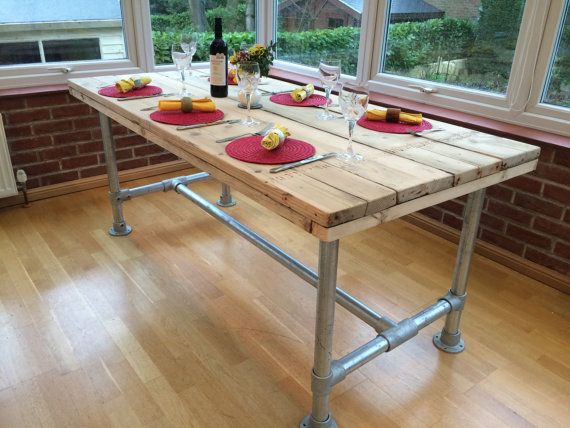 Reclaimed Scaffold Board Table with Scaffold tube by BN1Design