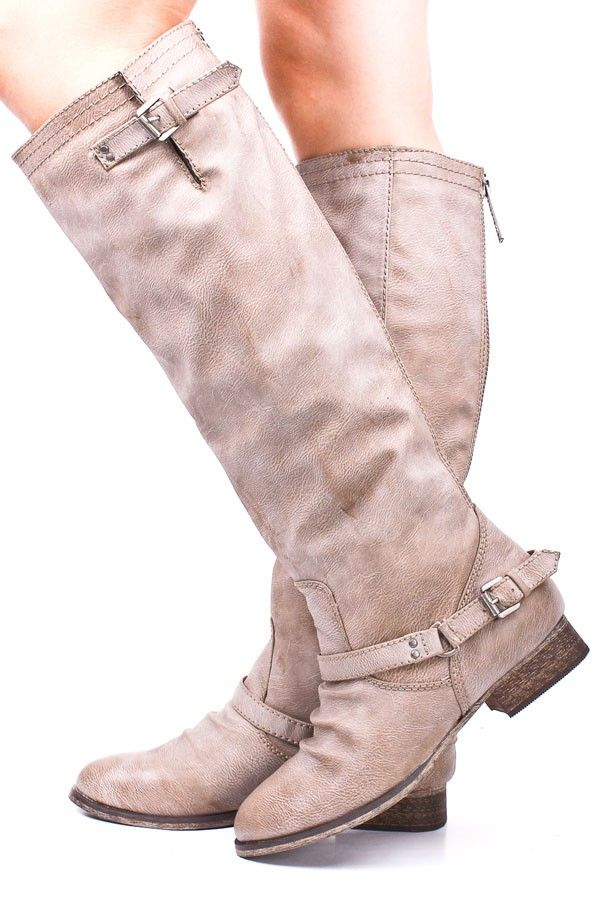 BEIGE FAUX LEATHER BUCKLE RUCHED KNEE HIGH RIDER BOOTS,Women's Boots-Sexy Boots,Heel Boots,Over The Knee Boots,Platform Boots,Knee High Boots,High Heel Boots,Rider Boots,Combat Boots,Gladiator Boots,Suede Boots,Riding Boots,Flat Boots,Motorcycle Boots