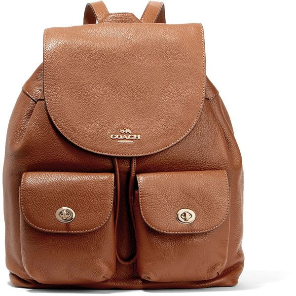 Coach Billie textured leather backpack (£248) ❤ liked on Polyvore featuring bags, backpacks, bags/purses, tan, daypack bag, backpack bags, brown backpack, tan bag and snap backpack